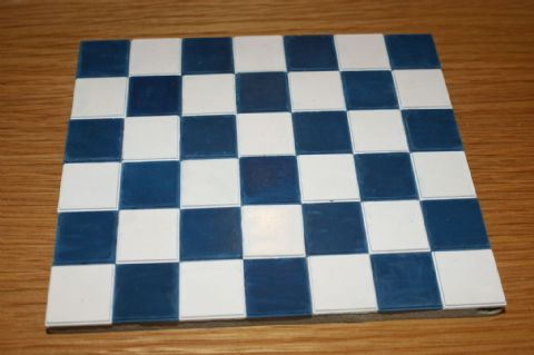 Blue & White Square Quarry Tiles - Dolls House